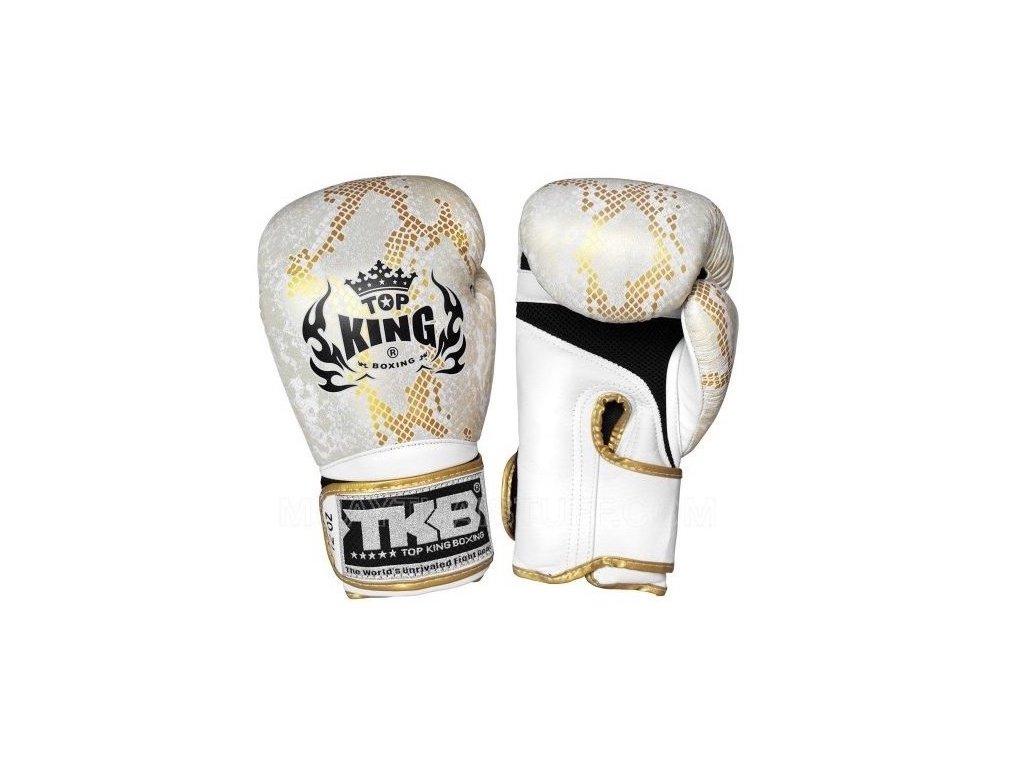 Top King kožené boxerské rukavice Air Super Snake - bílá/zlatá