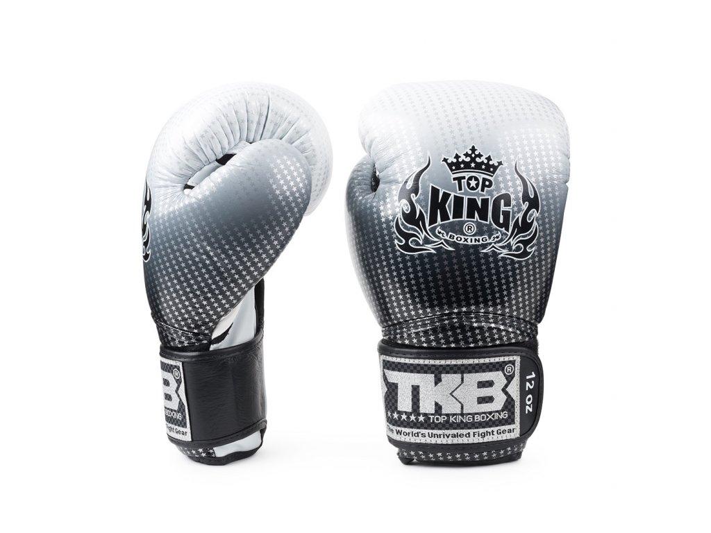 Top King kožené boxerské rukavice Super Star - stříbrná