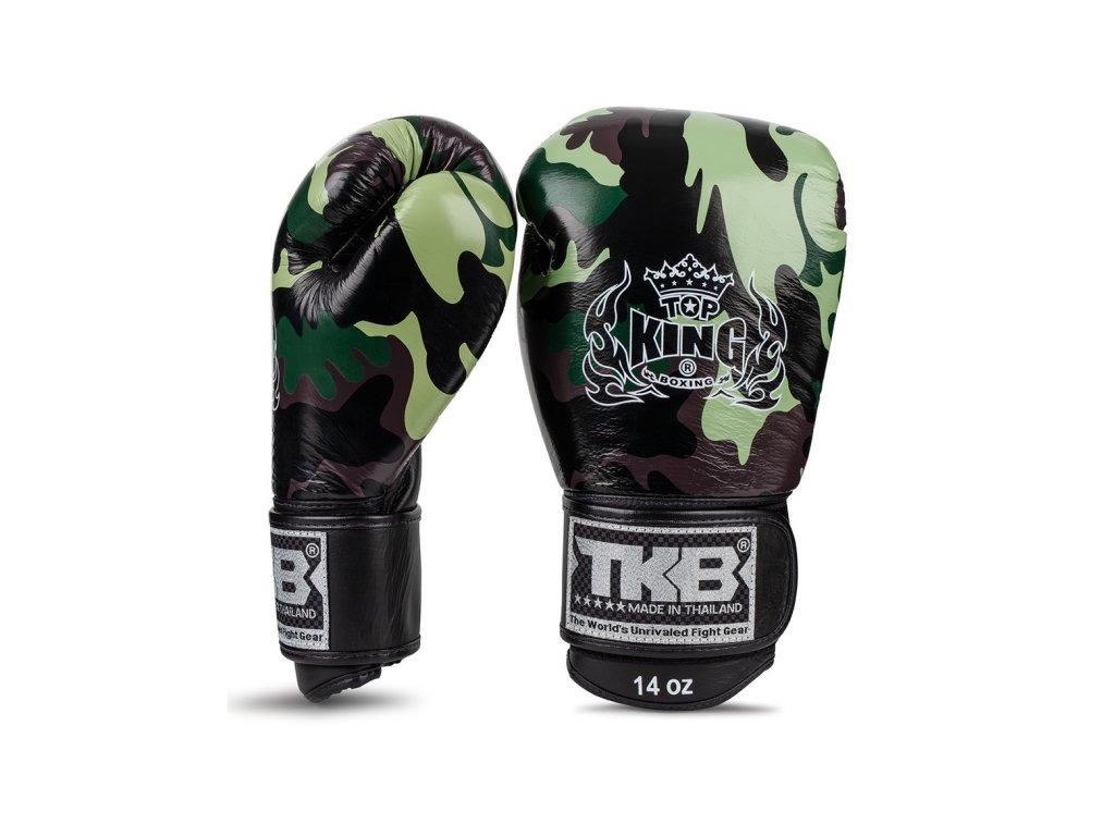 Top King Boxing kožené boxerské rukavice Ultimate Camo - zelená