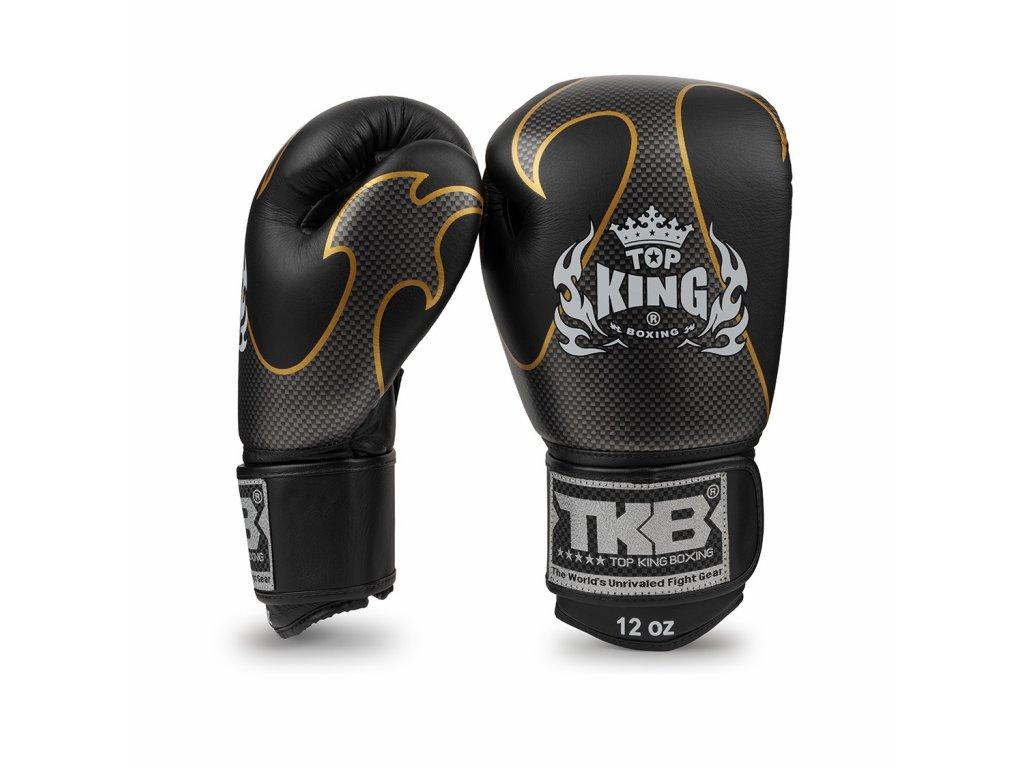 Top King Boxing kožené boxerské rukavice Empower  - černá/stříbrná