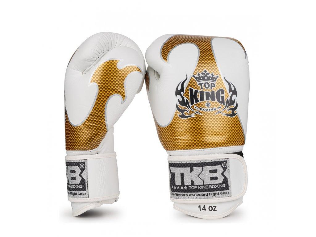 Top King Boxing kožené boxerské rukavice Empower  - bílá/zlatá