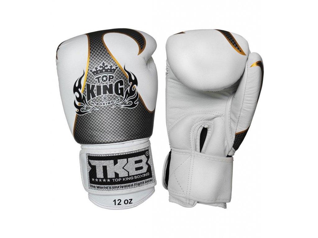 Top King Boxing kožené boxerské rukavice Empower  - bílá/stříbrná