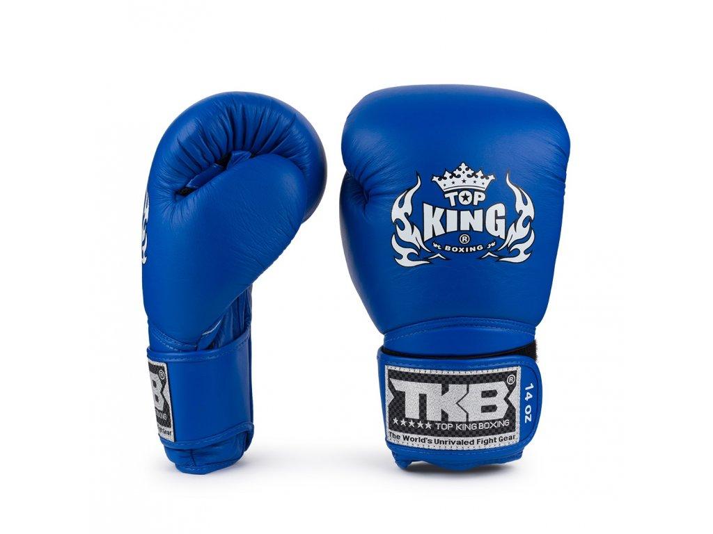 Top King kožené boxerské rukavice Super - modrá