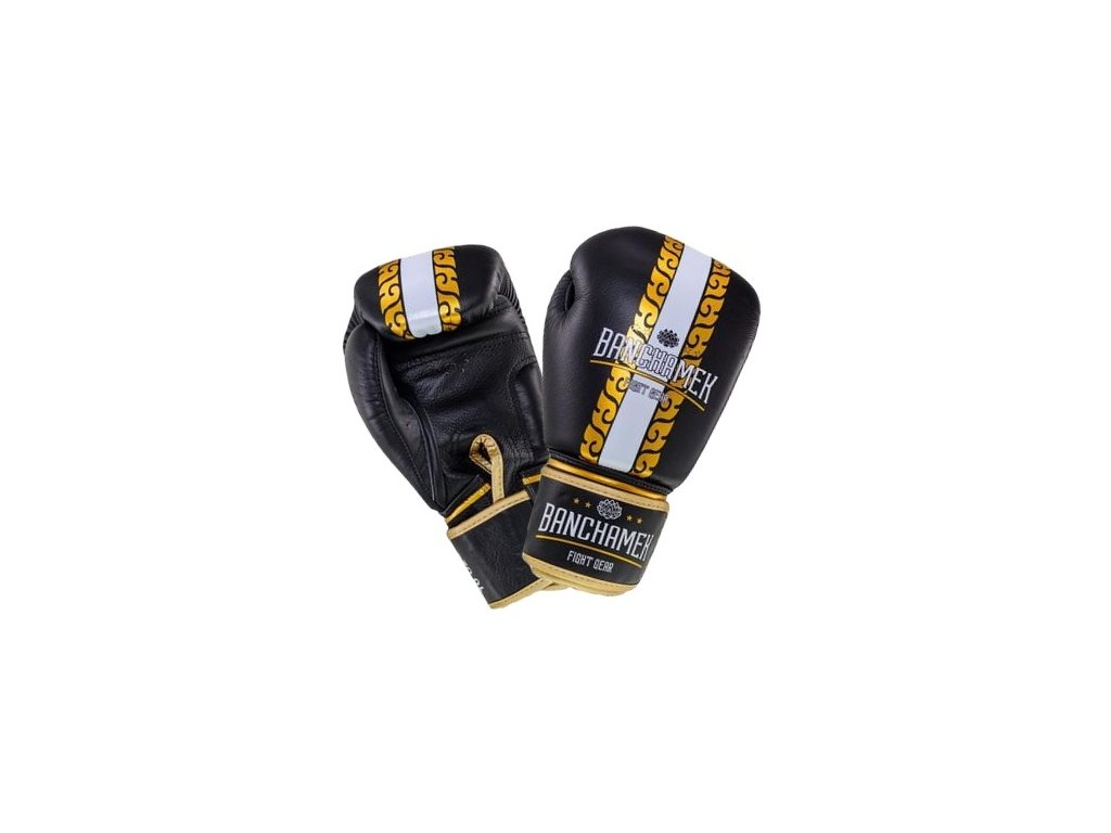 Kožené boxerské rukavice Buakaw Banchamek Striker  - černá/zlatá