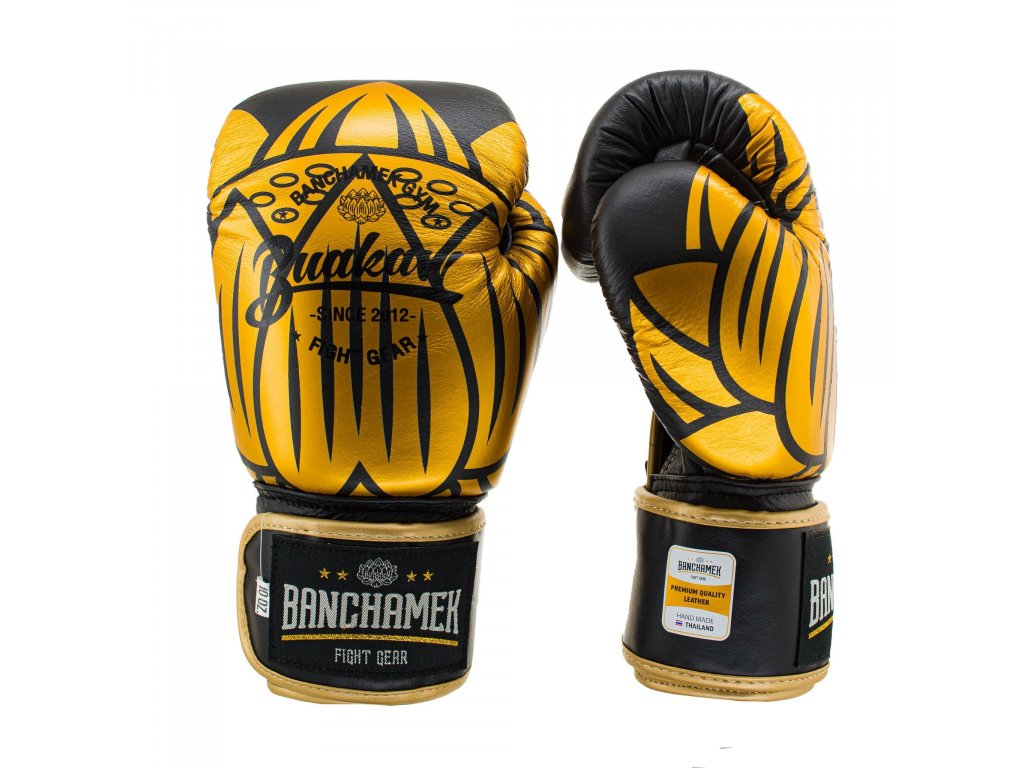 Kožené boxerské rukavice Buakaw Lotus - černá/zlatá