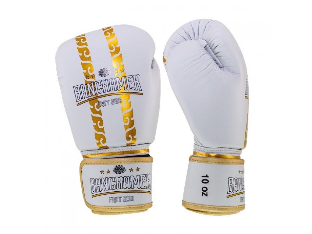 Kožené boxerské rukavice Buakaw Banchamek Striker  - bílá/zlatá
