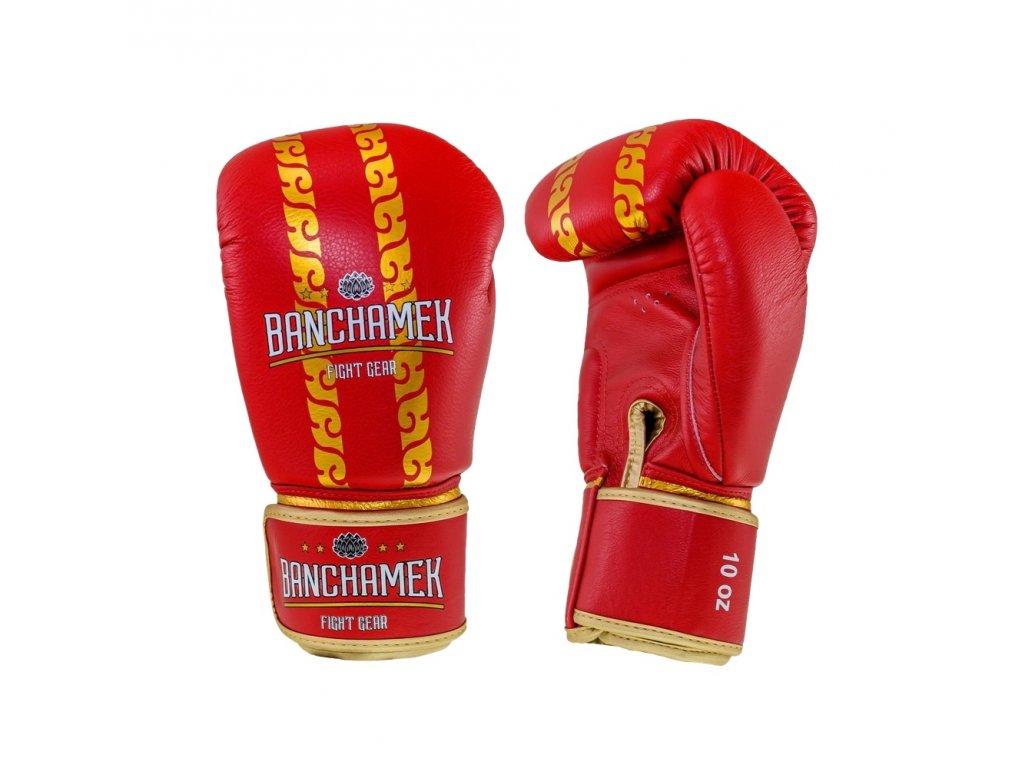 Kožené boxerské rukavice Buakaw Banchamek Striker  - červená/zlatá