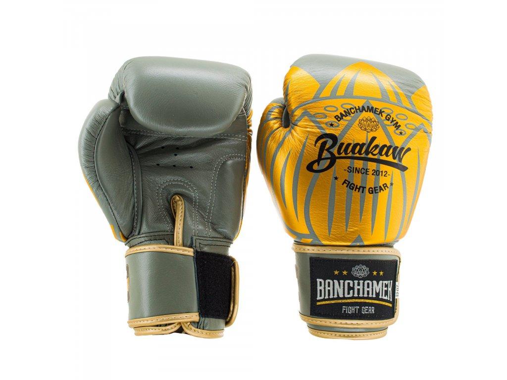 Kožené boxerské rukavice Buakaw Lotus - šedá/zlatá