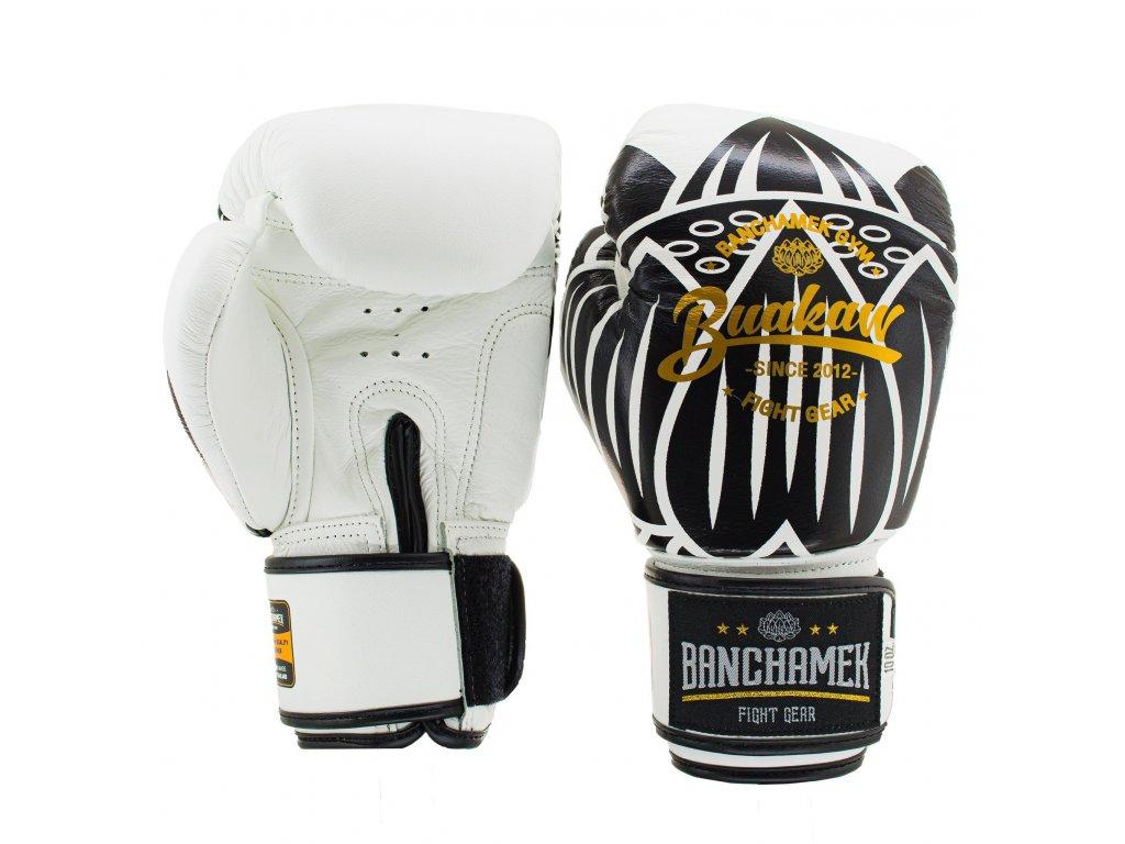 Kožené boxerské rukavice Buakaw Lotus - bílá/černá