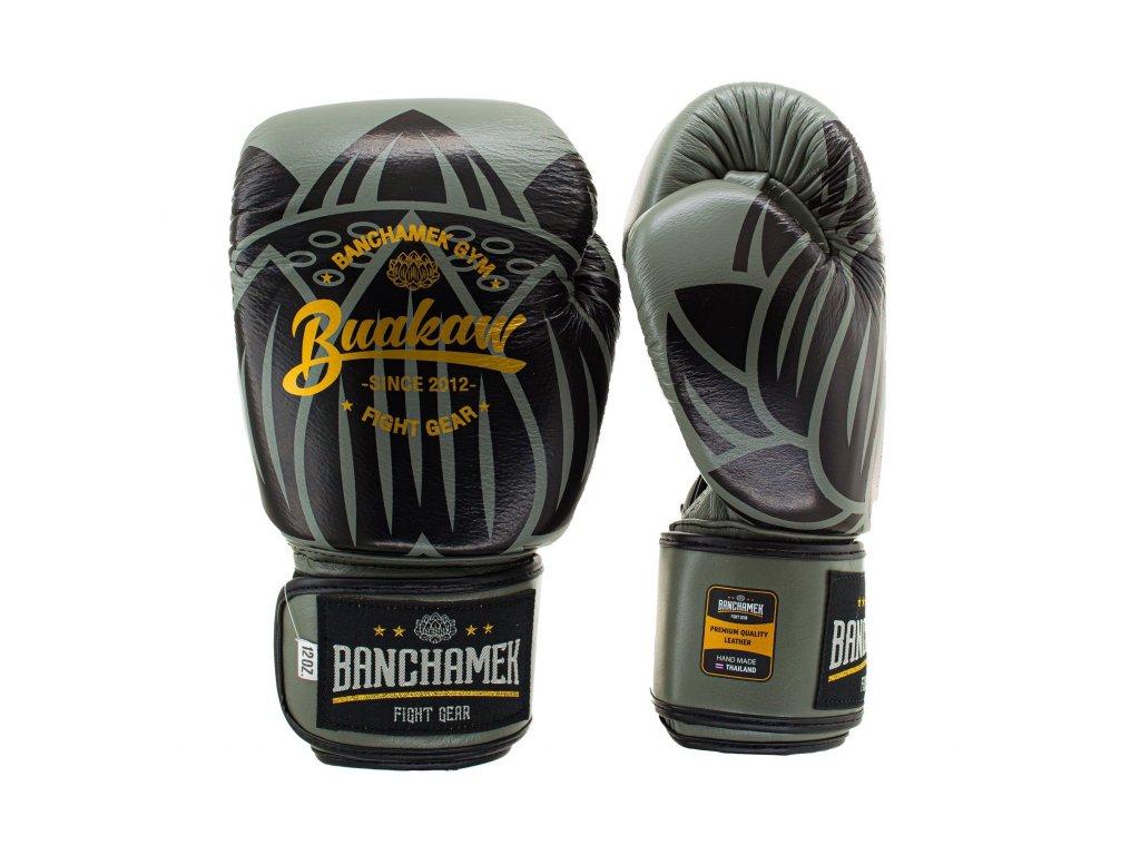 Kožené boxerské rukavice Buakaw Lotus - šedá/černá