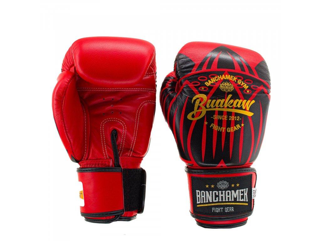 Kožené boxerské rukavice Buakaw Lotus - červená/černá