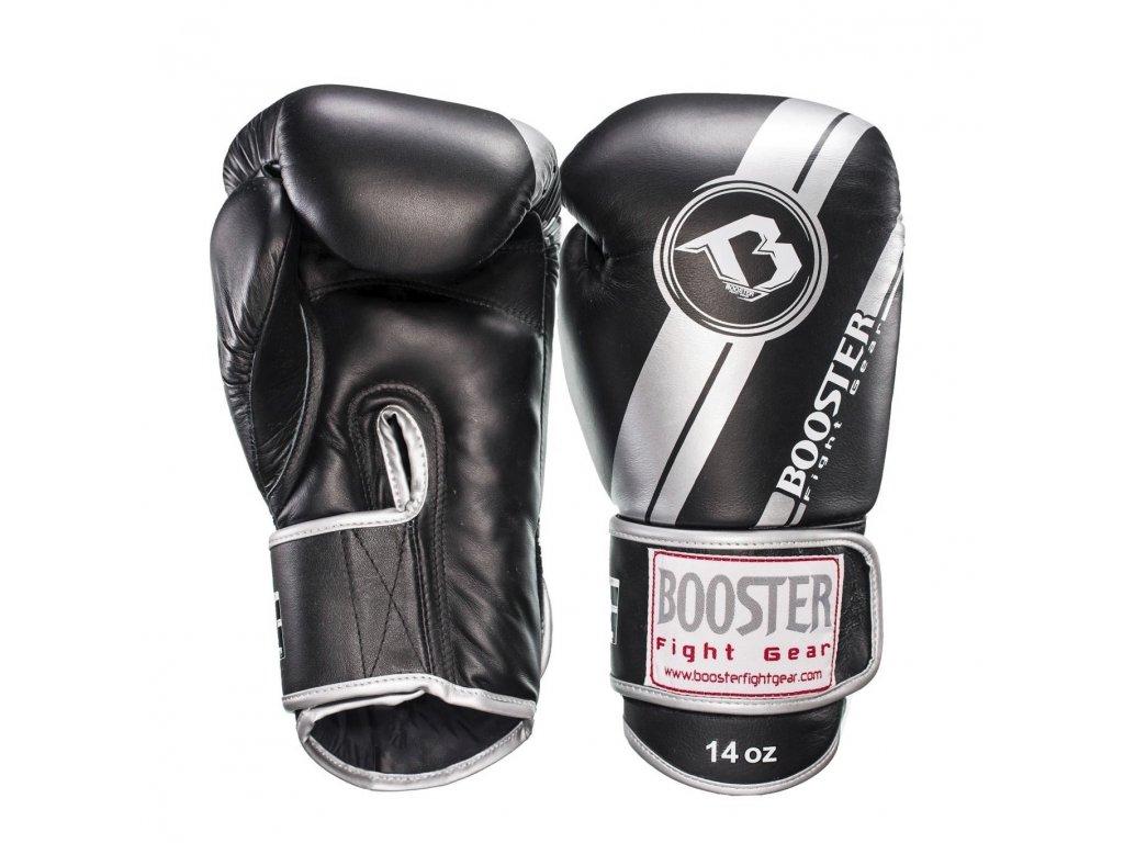 Booster kožené boxerské rukavice SILVER Foil - černá