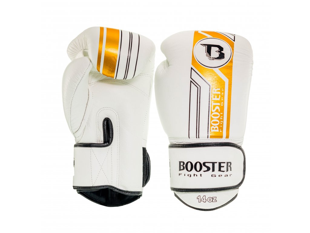 Booster kožené boxerské rukavice V9 - bílá/zlatá
