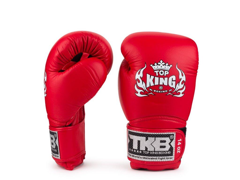 Top King kožené boxerské rukavice AIR - červená