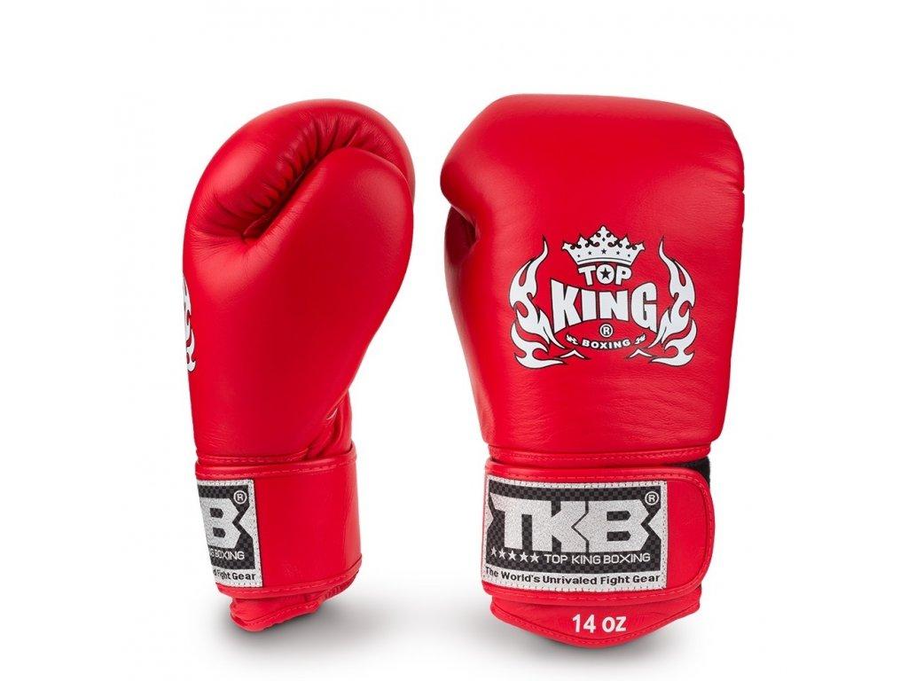 Top King Boxing kožené boxerské rukavice Ultimate - červená