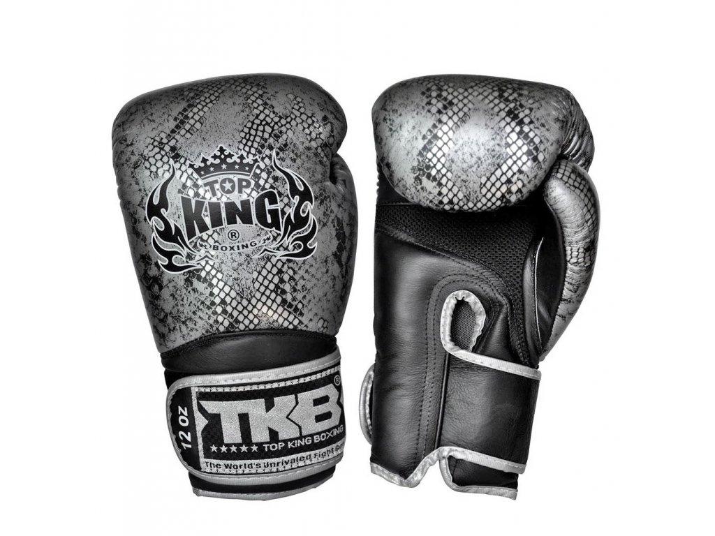 Top King kožené boxerské rukavice Air Super Snake - černá/stříbrná