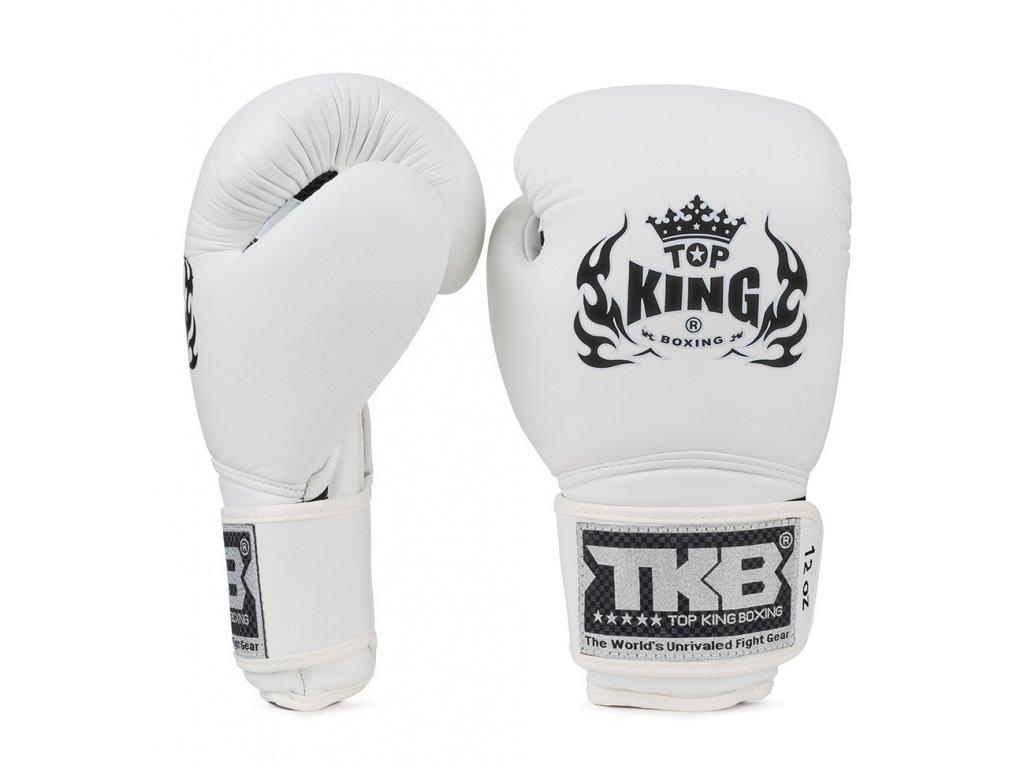Top King kožené boxerské rukavice SUPER - bílá