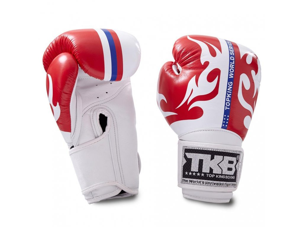 Top King kožené boxerské rukavice SUPER World Series - červená