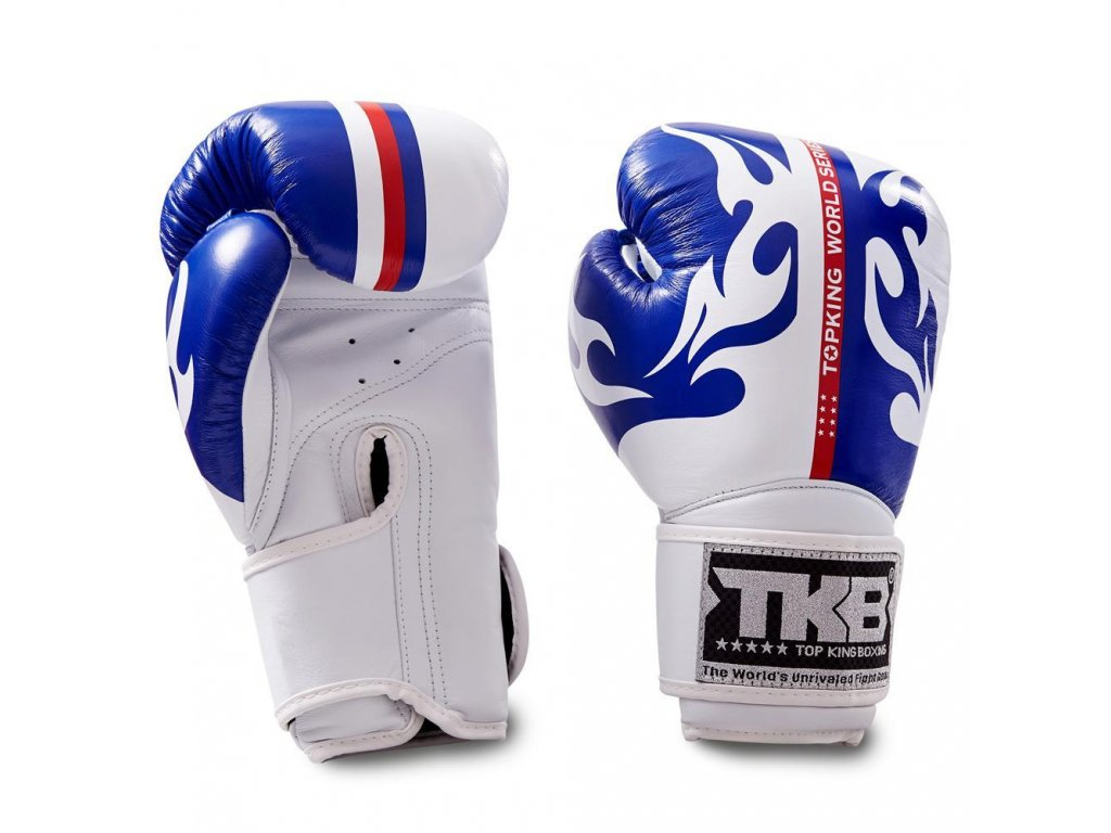 Top King kožené boxerské rukavice SUPER World Series - modrá