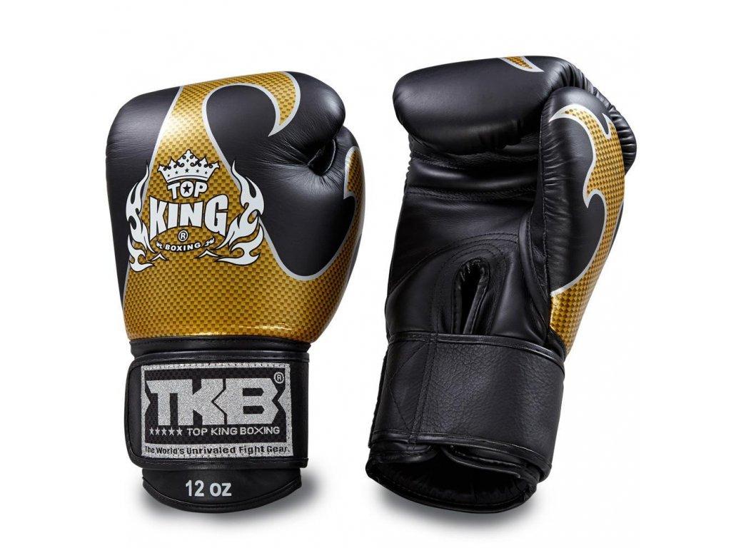 Top King Boxing kožené boxerské rukavice Empower  - černá/zlatáá
