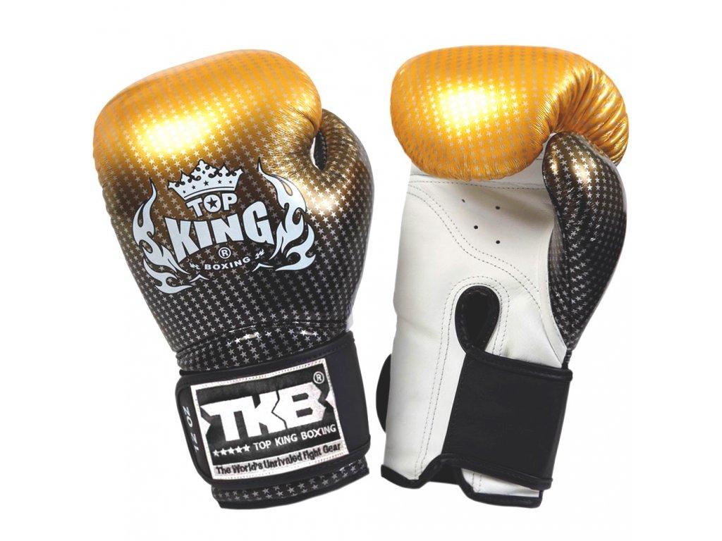 Top King kožené boxerské rukavice Super Star - zlatá