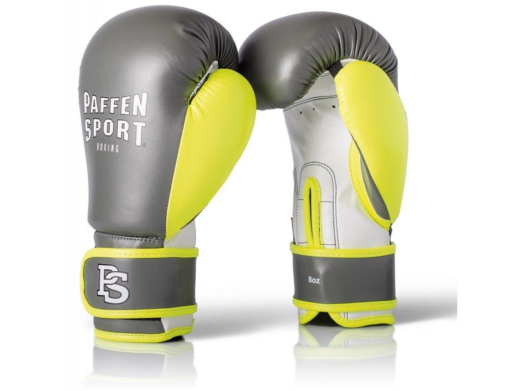 Dětské rukavice na box Paffen Sport - šedá/zelená barva
