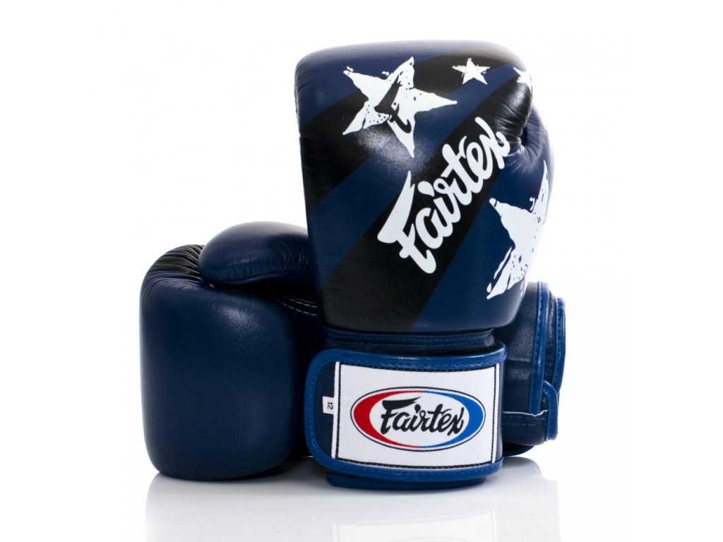 Boxerské rukavice Fairtex BGV1 - Nation Print modrá barva