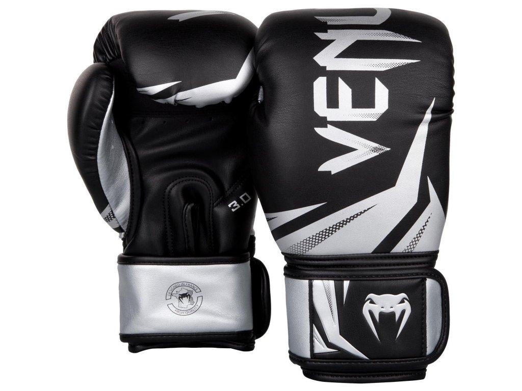 Boxerské rukavice Venum Challenger 3.0 - černá barva, stříbrné logo