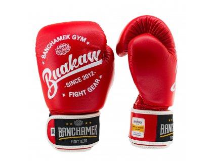 Kožené boxerské rukavice Buakaw - červená barva