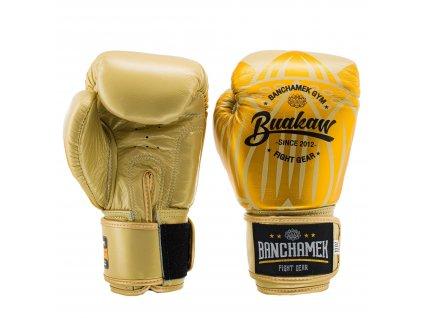 Kožené boxerské rukavice Buakaw Lotus - zlatá/zlatá