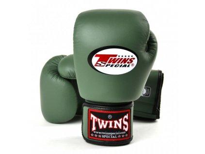 Boxerské rukavice kožené TWINS - military barva