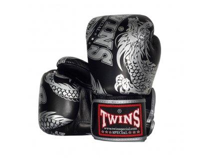 Boxerské rukavice TWINS - DRAGON - černá/stříbrná