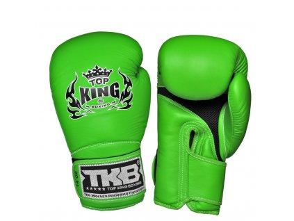 Top King kožené boxerské rukavice Super AIR  - zelenáelená