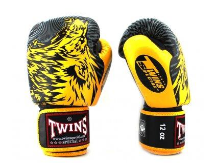Twins Wolf FBGVL3-50 Boxerské rukavice - černá/žlutá