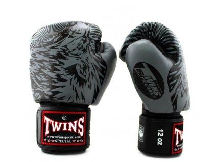 Twins Wolf FBGVL3-50 Boxerské rukavice - černá/šedá