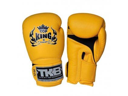 Top King kožené boxerské rukavice Super AIR  - žlutá