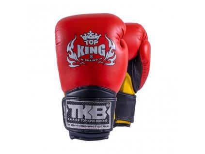 Top King kožené boxerské rukavice TKBGSA  Super AIR  - červená/žlutá
