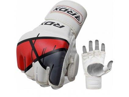 RDX MMA rukavice grappling T7 - bílá/červená