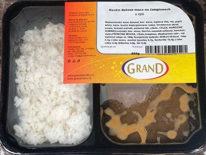 Hovězí dušené maso na žampionech, dušená rýže