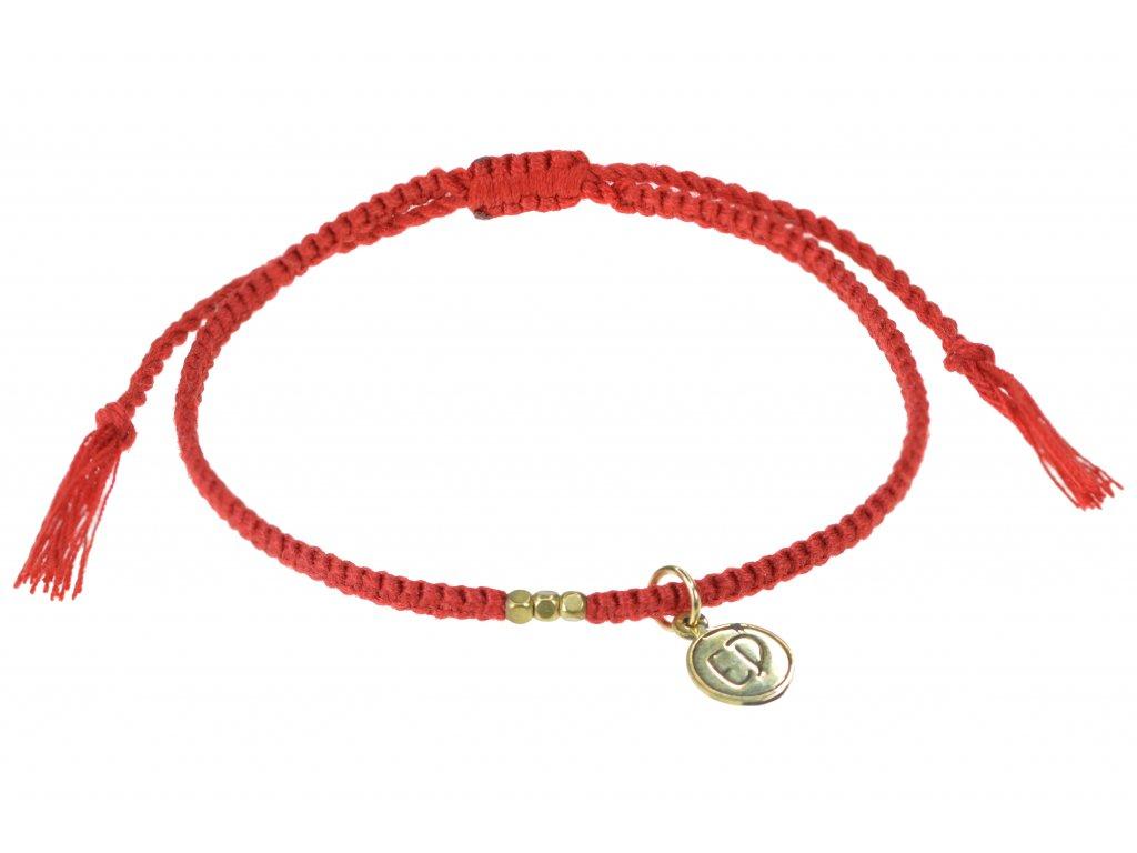 Dámsky ochranný náramok s korálkami a strapcami - červený