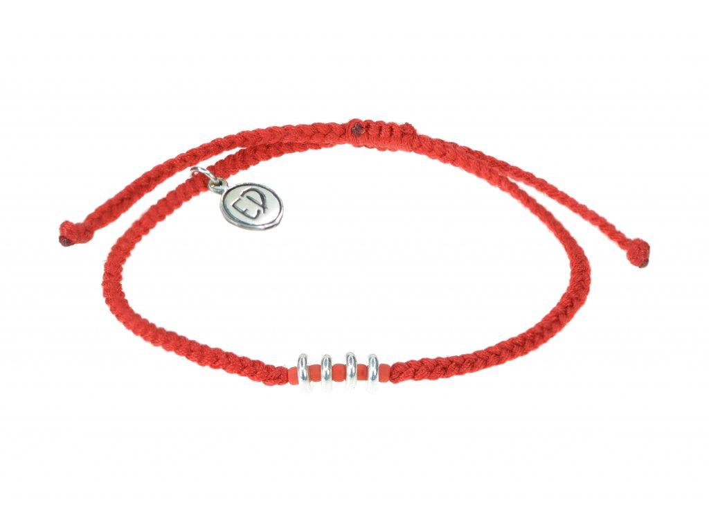 Ochranný náramok s korálkami a japonským rokajlom - červený