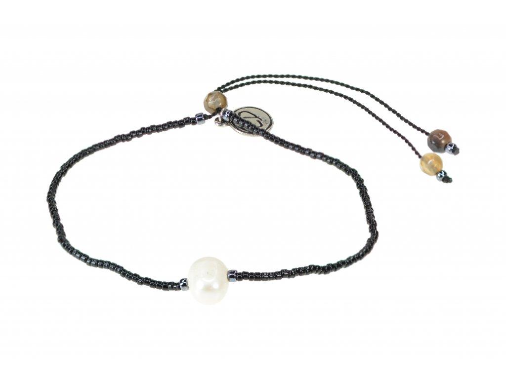 Náramok s riečnou perlou a polodrahokamom achát - čierny