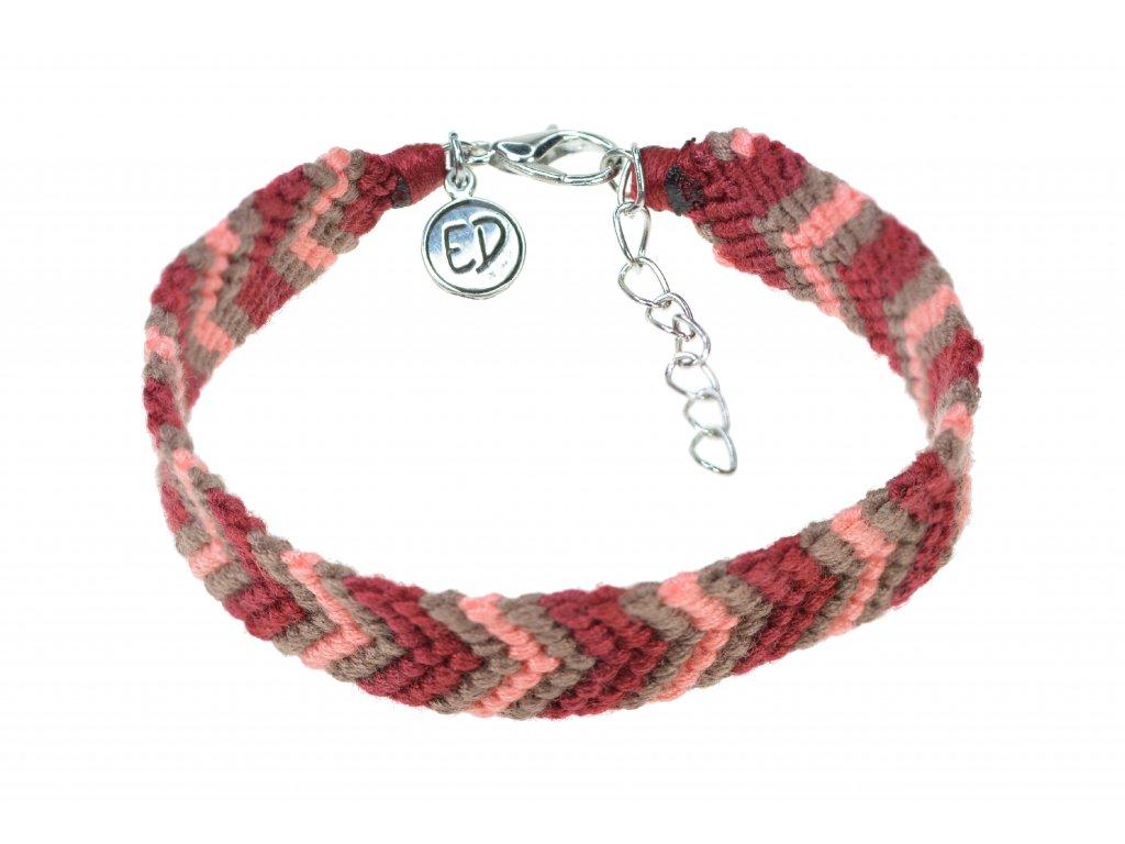 Dámsky ručne pletený náramok so strieborným zapínaním - červený