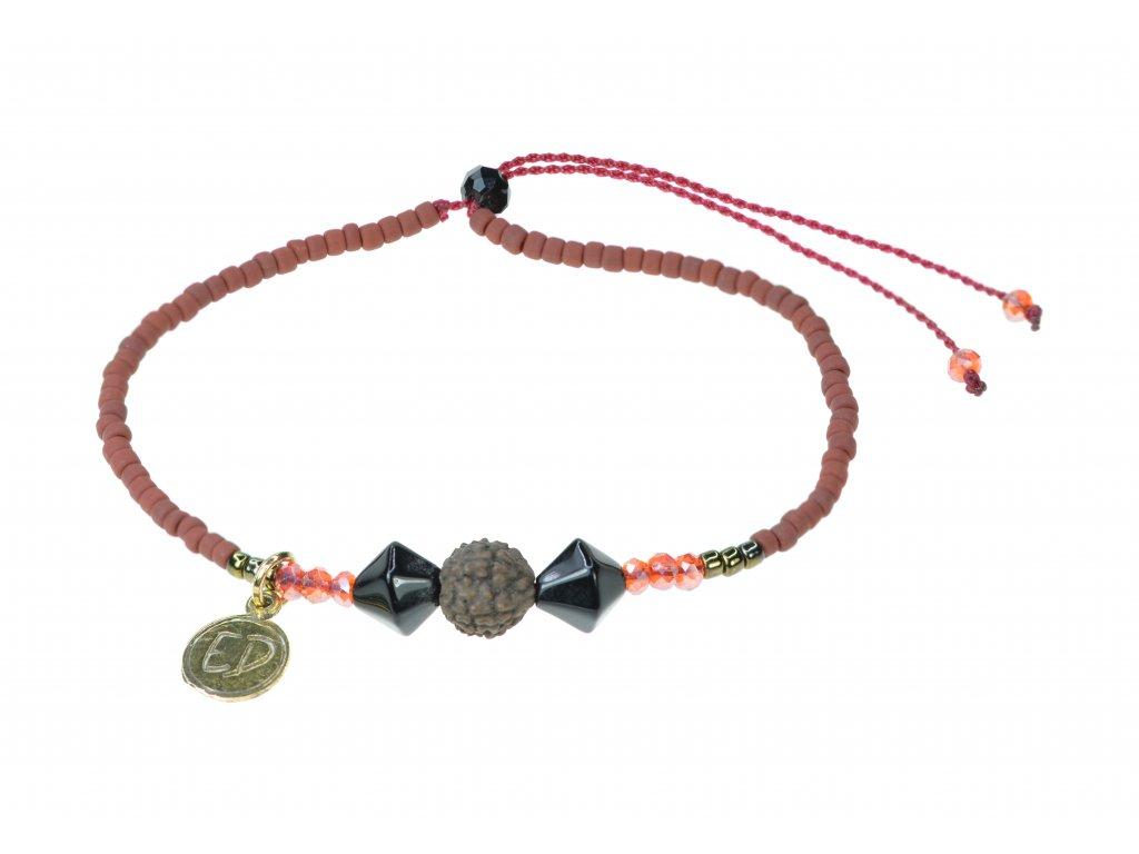 Náramok z japonského rokajlu s korálkou Rudraksha - červený