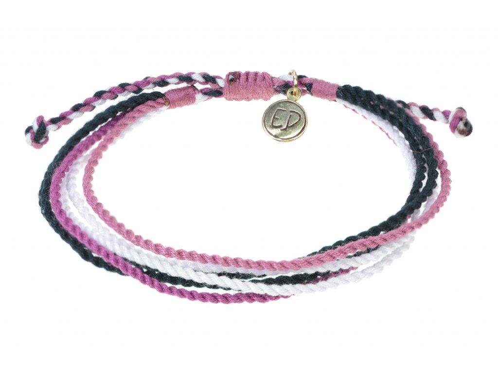 Unisex náramok z viacfarebných ručne tkaných šnúrok - fialový