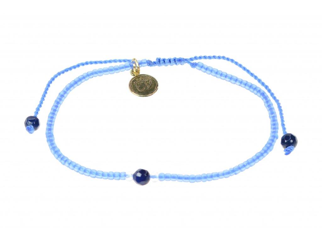 Náramok z japonského rokajlu a achátu - modrý