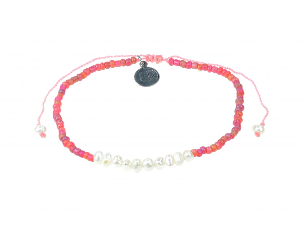 Náramok z japonského rokajlu s perličkami - ružový  + darčeková krabička