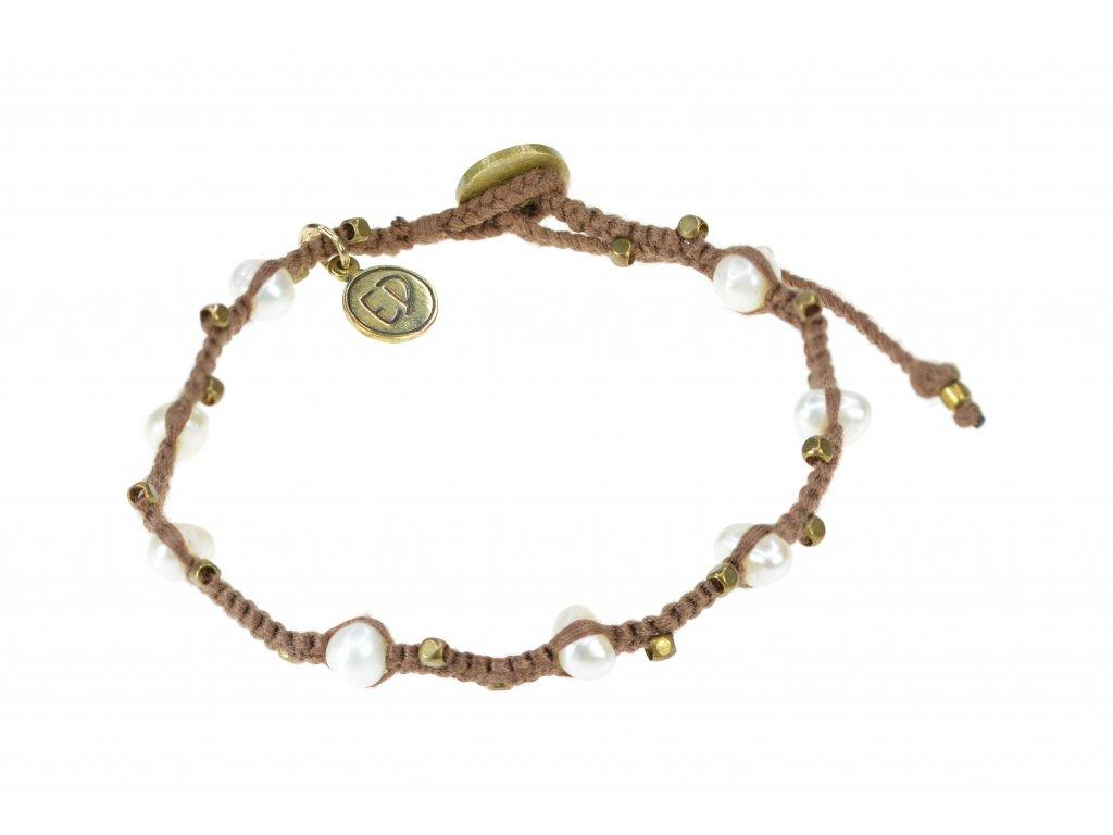 Pletený perlový náramok - hnedý
