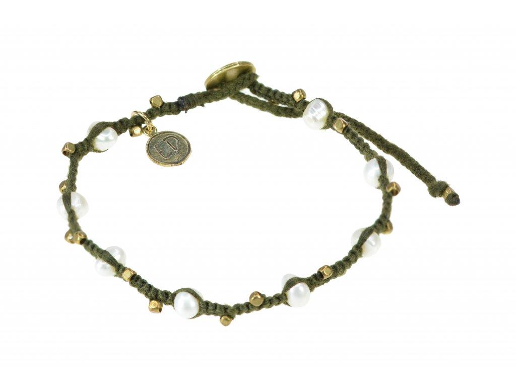 Pletený perlový náramok - zelený
