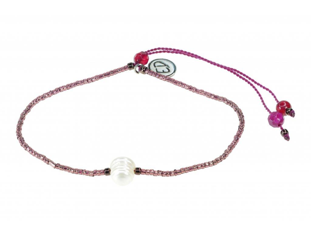 Náramok s riečnou perlou a polodrahokamom achát - ružový